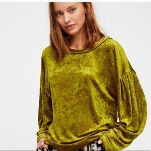 Free People | Green Velvet Milan Sweater Small